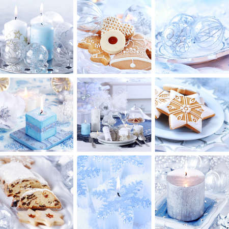 Collection of nine still live photos for Christmas in white and blue tone Standard-Bild