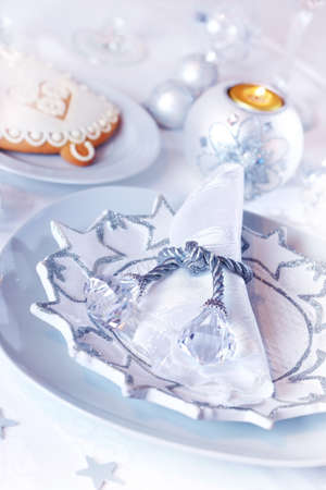 Place setting for Christmas in white and blue tone photo