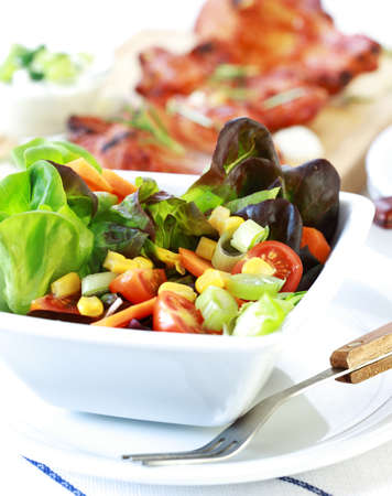 salad fork: Small mixed salad with low calorie Stock Photo