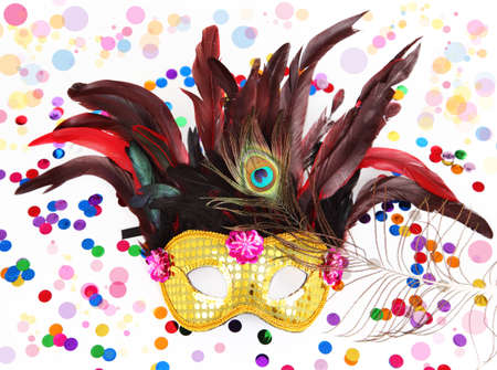 Carnival mask with confetti on white background Stock Photo - 11874366