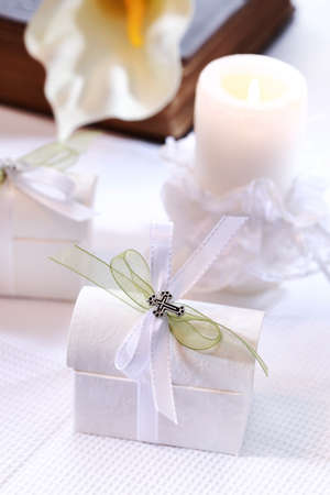 bible flower: Small present for guests by first holy communion Stock Photo