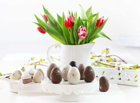 Easter eggs with tulips as table decoration Stock Photo - 12009089