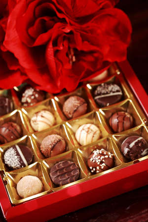 Assorted sweet pralines for Valentine photo