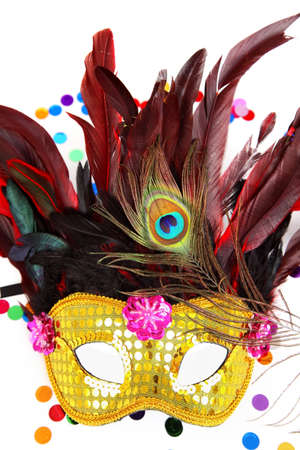 Carnival mask with confetti on white background Stock Photo - 12025358