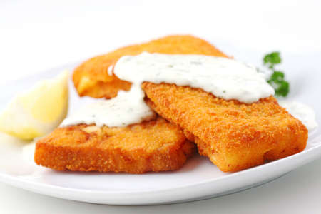 british food: Breaded fish fillet with diet remoulade