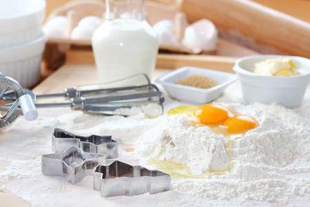 Bakken ingrediënten voor cake, gebak of koekjes Stockfoto