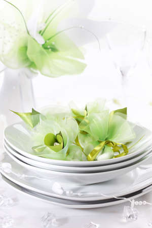 wedding table setting: Luxury place setting for wedding in white and green tone