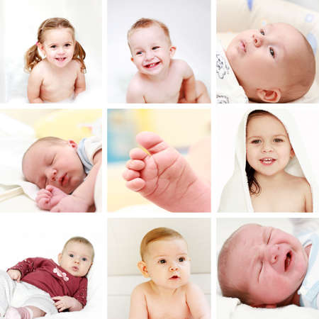 crying child: Collage of different photos of babies and kids