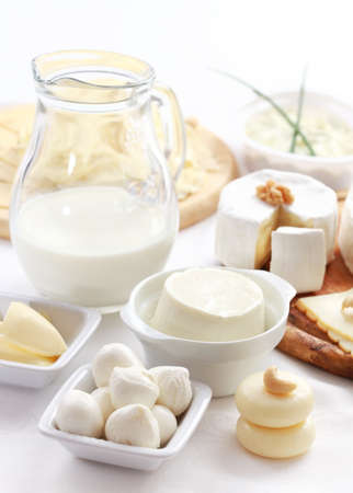 milk containers: Arrangement of dairy products on a table