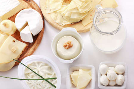 dairy: Arrangement of dairy products on a table