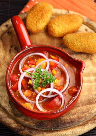 Mexican cuisine with chilli con carne cooked in the pan photo