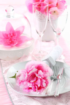 formal dinner party: Romantic place setting in pink