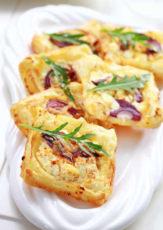 cream puff: Puff pastry with cheese, tomato and vegetables Stock Photo