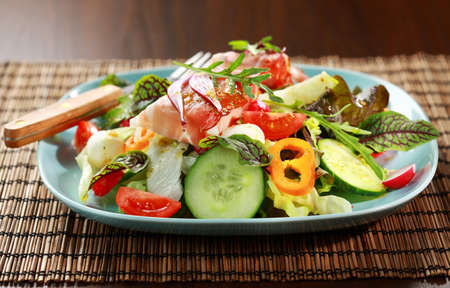 Big vegetable salad with Prosciutto cheese rolls Stock Photo - 13572881