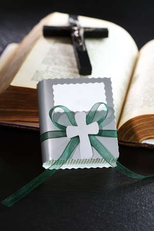 christian confirmation: Small present for guests by first holy communion Stock Photo