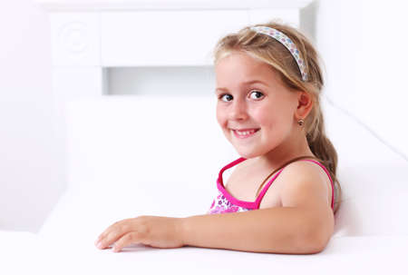 Portrait of cute girl smiling photo