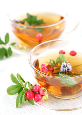 Lingonberry tea  with mint leaves
