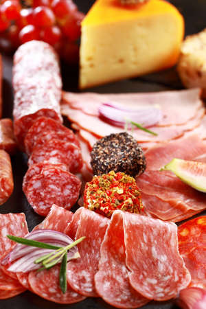 antipasto: Antipasto catering platter with salami and cheese Stock Photo