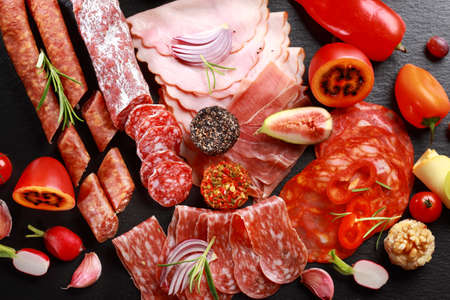 Antipasto catering platter with salami and cheese Stock Photo