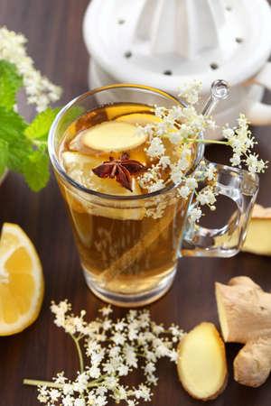 ginger health: Refreshing Ginger ale lemonade with anise  Stock Photo