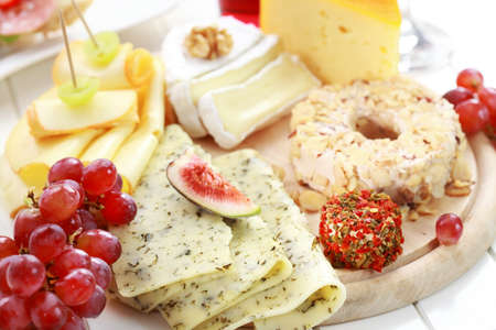 Catering cheese platter with fruits photo
