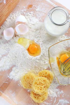 Baking ingredients for pasta and noodles photo