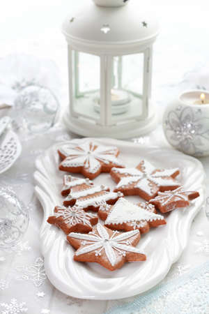 Still life with delicious gingerbread for Christmas photo