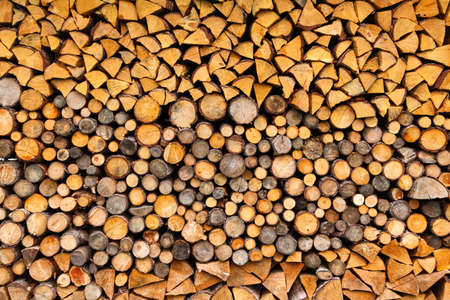 woodpile: Pile of wood logs ready for winter Stock Photo