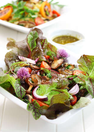 Low calorie salad with shiitake mushrooms photo