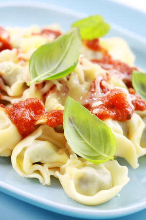 Small tortellini with tomato sauce and cheese, fresh basil photo