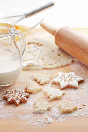 wood cutter: Baking ingredients for Christmas cookies and gingerbread Stock Photo