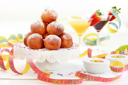 festive occasions: Small fried doughnut with cocktails for carnival
