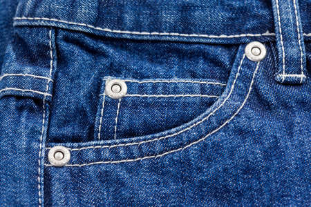 Detail of jeans pocket in blue photo