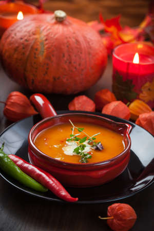 Pumpkin soup with chili for Thanksgiving