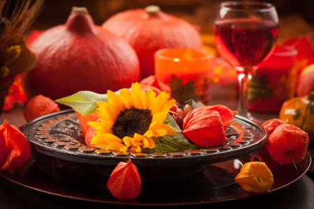 Place setting for autumn and Thanksgiving photo