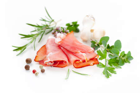 Traditional prosciutto with herbs and spicy photo