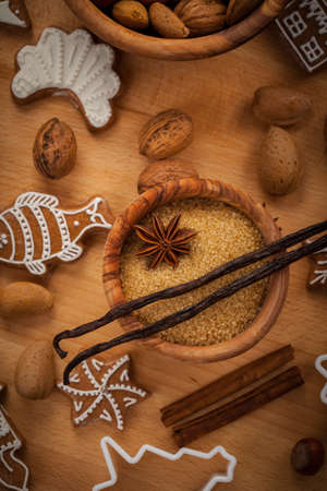 cookie cutter: Ingredients for baking Christmas cookies