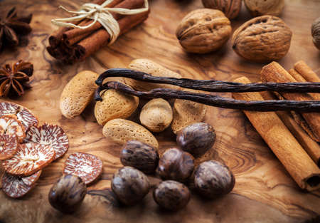 Assortment of spices and nuts for Christmas for baking cookies Stock Photo - 16164230