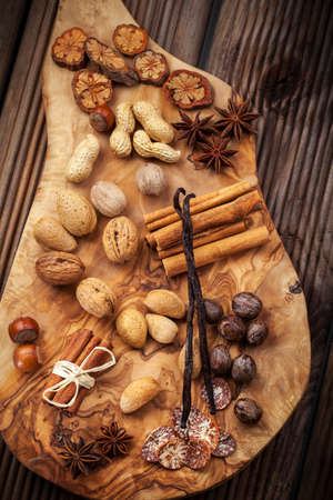 Assortment of spices and nuts for Christmas for baking cookies Stock Photo - 16164231