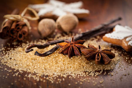 baking ingredients: Baking ingredients and spices for Christmas cookies Stock Photo