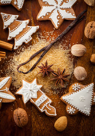 christmas gingerbread: Christmas gingerbread cookies with nuts and spices Stock Photo