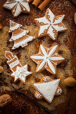 cookie cutter: Christmas gingerbread cookies with nuts and spices Stock Photo
