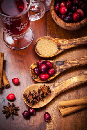 Ingredients for cooking cranberry hot mulled wine photo