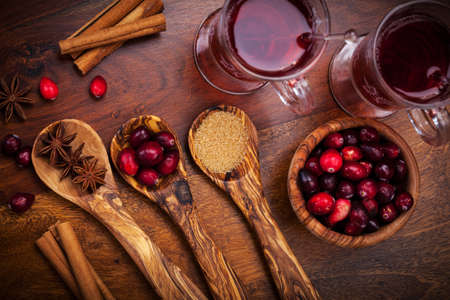 Ingredients for cooking cranberry hot mulled wine Stock Photo - 16435980