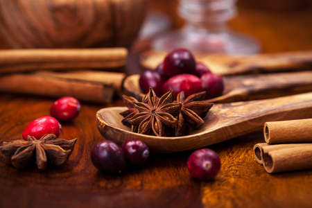 Ingredients for cooking cranberry hot mulled wine Stock Photo - 16435942