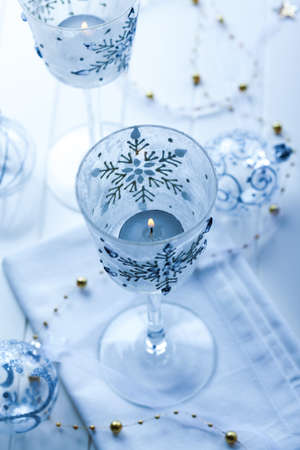 Christmas candles and ornament in blue tone and blurred background Stock Photo - 16435996