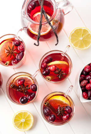 Delicious hot punch for winter and Christmas with fruits and wine Stock Photo - 16436006