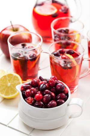 Delicious hot punch for winter and Christmas with fruits and wine Stock Photo - 16435989