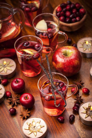 christmas tea: Delicious hot punch for winter and Christmas with fruits and wine