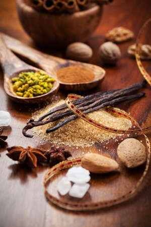 Aromatic baking ingredients for Christmas cookies photo